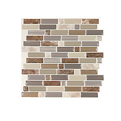 Smart Tiles Crescendo Terra 9.73-inch W x 9.36-inch H Brown and Beige Peel and Stick Decorative Wall Tile