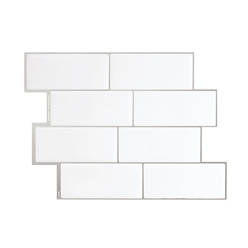 Metro Campagnola 11.56-inch W x 8.38-inch H White Peel and Stick Decorative Wall Tile