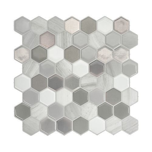 Haxagone Travertino Multi 9.76-inch W x 9.35-inch H Peel and Stick Decorative Wall Tile (4-Pack)