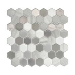Smart Tiles Tuiles décoratives Peel and Stick pour murs, 9,76 po x 9,35 po, Hexagone Travertino, gris, ens. de 4