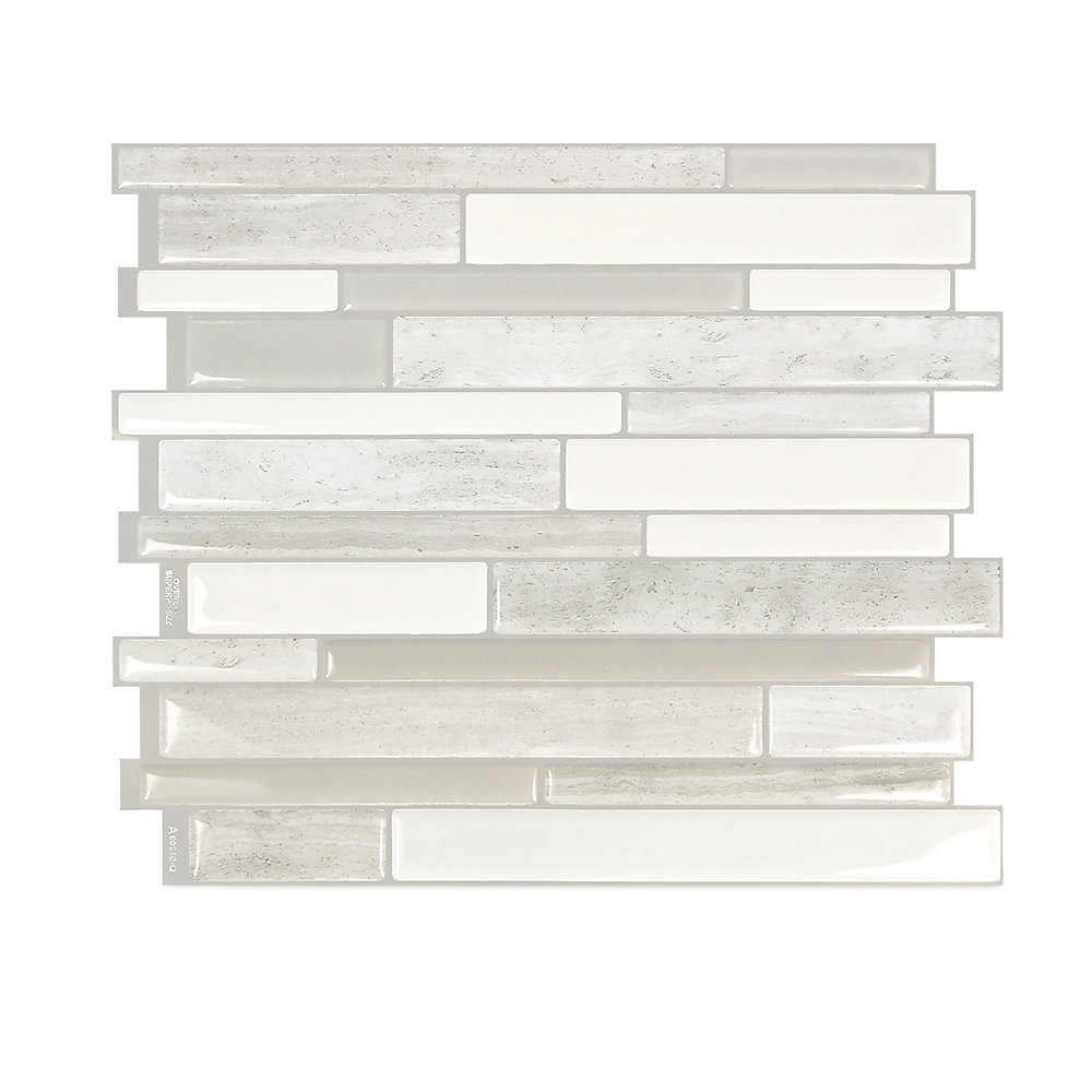 Milano Fabrini 11.55-inch W x 9.63-inch H Taupe Peel and Stick Decorative Wall Tile