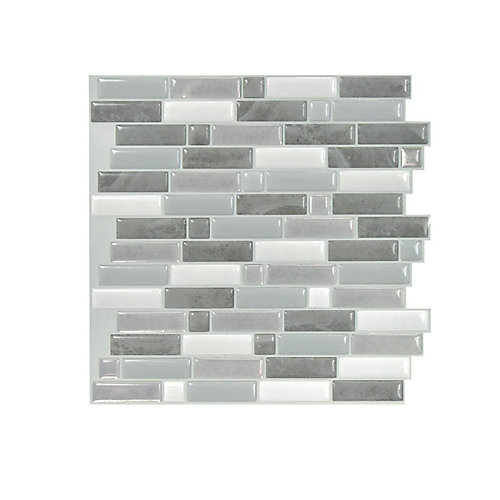 Crescendo Agati 9.73-inch W x 9.36-inch H Grey Peel and Stick Decorative Wall Tile