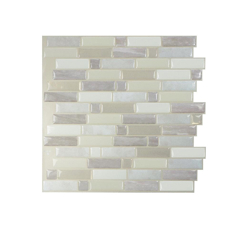 Tuiles décoratives Peel and Stick pour murs, 9,73 po x 9,36 po, Crescendo Ciotta, taupe