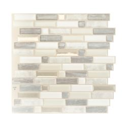 Smart Tiles Tuiles décoratives Peel and Stick pour murs, 9,73 po x 9,36 po, Crescendo Ciotta, taupe, ens. de 4