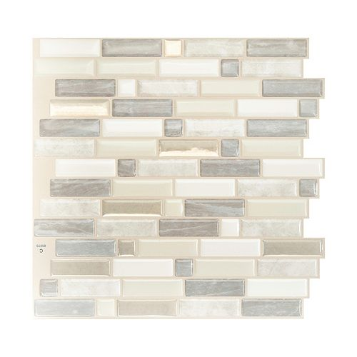 Smart Tiles Crescendo Ciotta 9.73-inch W x 9.36-inch H Taupe Peel and Stick Decorative Wall Tile (4-Pack)