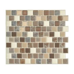 Smart Tiles Tuiles décoratives Peel and Stick pour murs, 10,20 po x 8,85 po, Brixia Pardo, brun, ensemble de 4