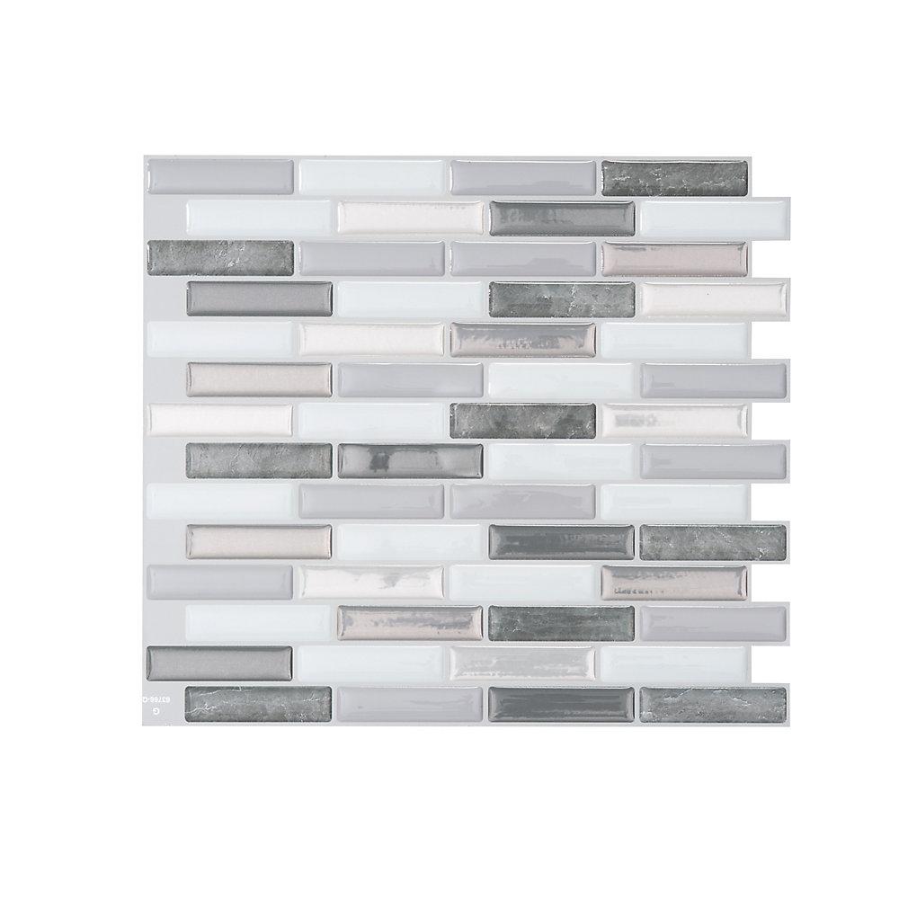Tuiles décoratives Peel and Stick pour murs, 10,20 po x 9 po, Milenza Bigio, gris, ensemble de 4