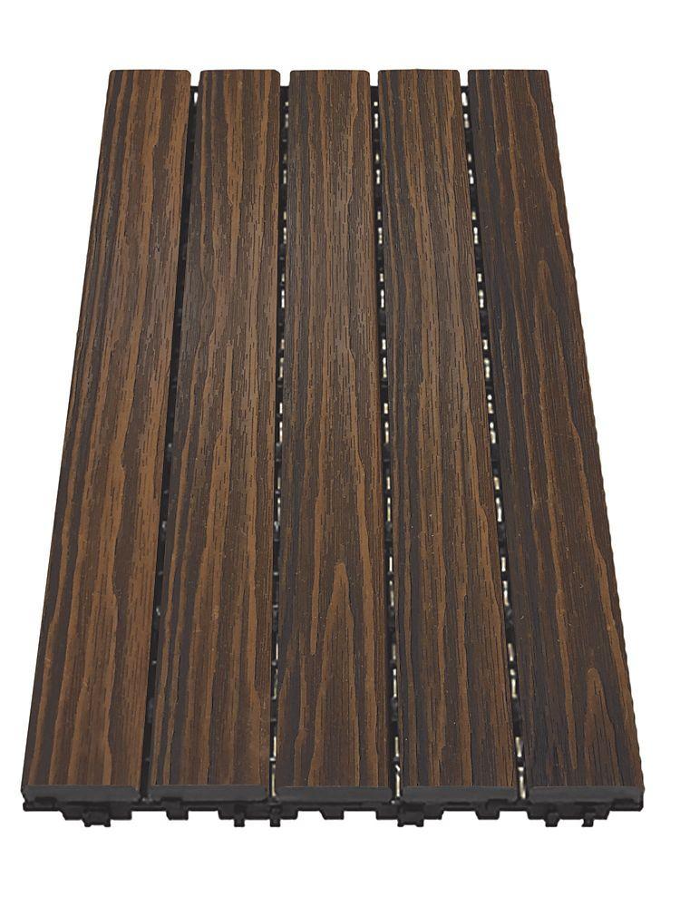 Aura 12 inch x 24 inch Deck and Balcony Tile - Walnut - 10 Sq. ft. - 5 Pc/Pk