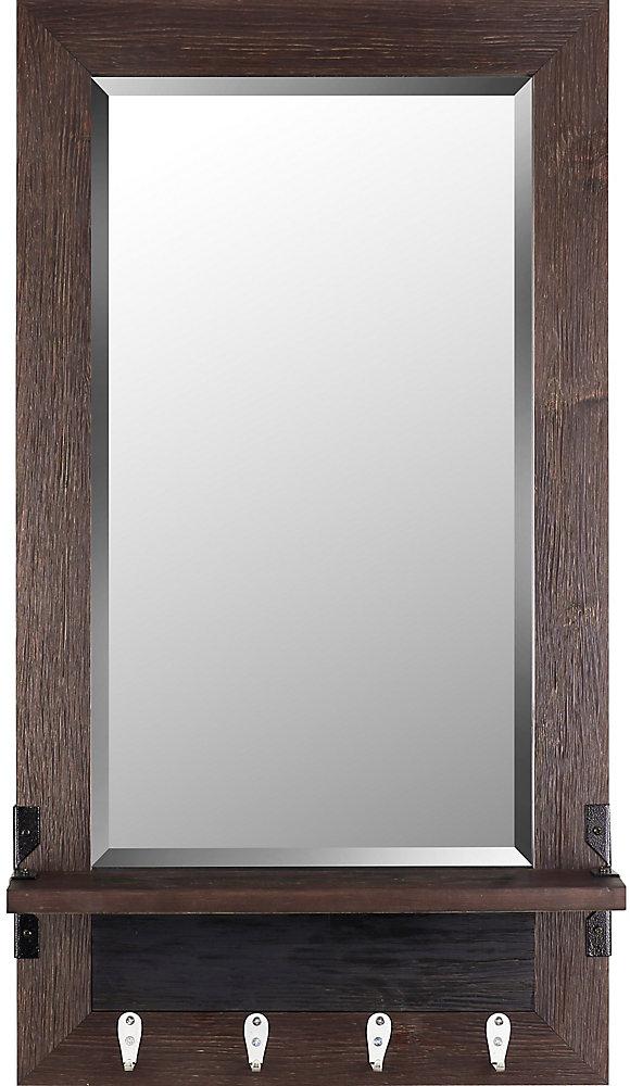 20.75x37.75 miroir étagère biseau brun miroir de