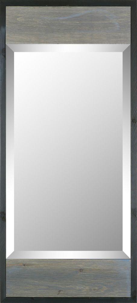 Art Maison Canada 17.5x38.75 Gray Wood W Black Trim Modern Mirr Bevel Mirror
