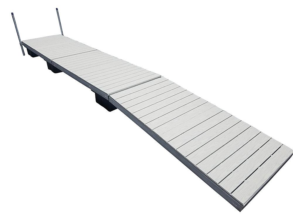Quai flottant à profil bas avec revêtement en aluminium peint gris de 9,75m (32pi)