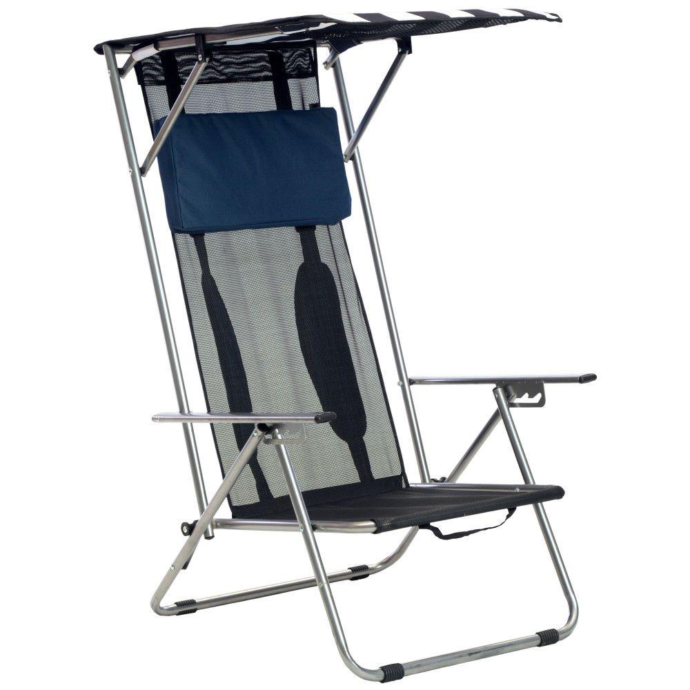 Quik Shade Beach Recliner Shade Folding Chair - Navy/White