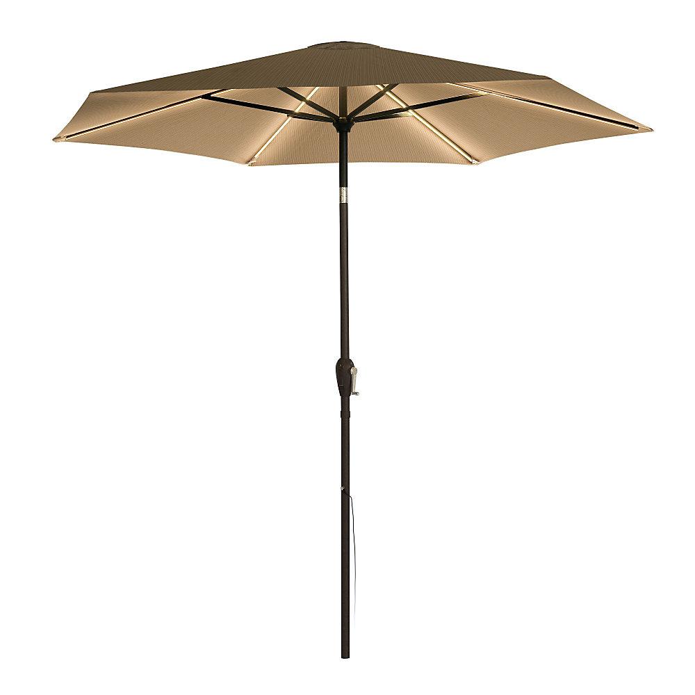 9 pi LED Parasol de marché - Kaki, lumière chaude