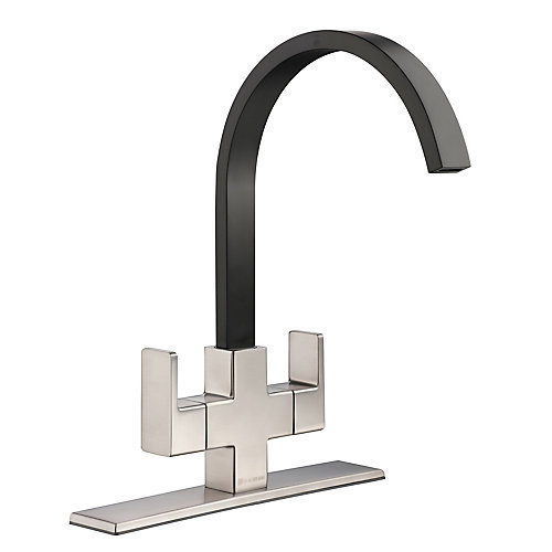 Farrington Contemporary 2-Handle High-Arc Standard Kitchen Faucet in Stainless Steel and Matte Black