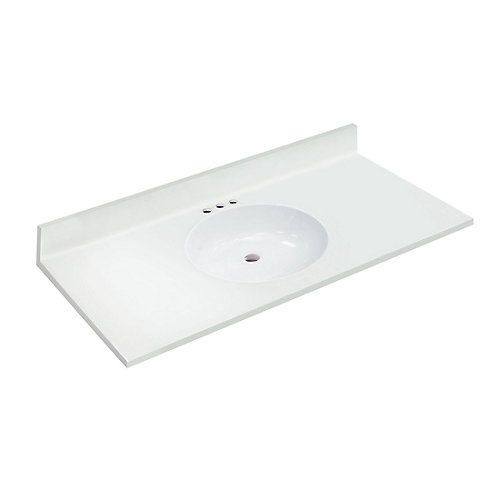 49 inch W x 22 inch D White Vanity Top with Oval Non-recessed Bowl