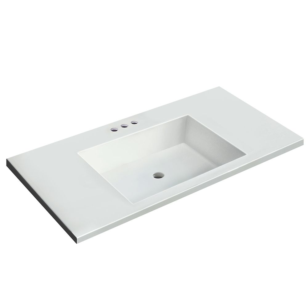 Magick Woods 37 inch W x 19 inch D White Vanity Top with ...