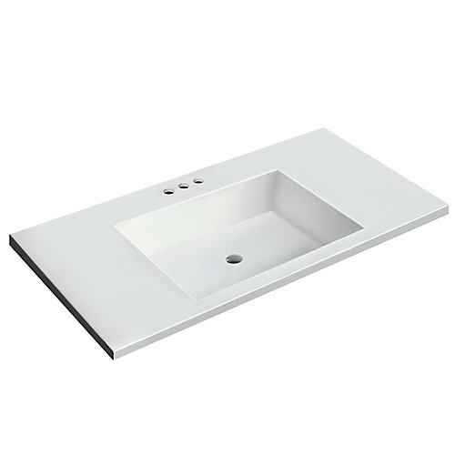 37 inch W x 19 inch D White Vanity Top with Rectangle Bowl