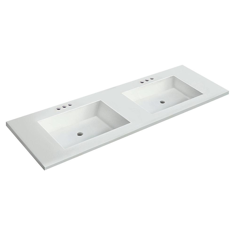 Dessus blanc de 1,54 m[61 po]larg.x55,88 cm[22 po]prof. avec deux lavabos rectangulaires