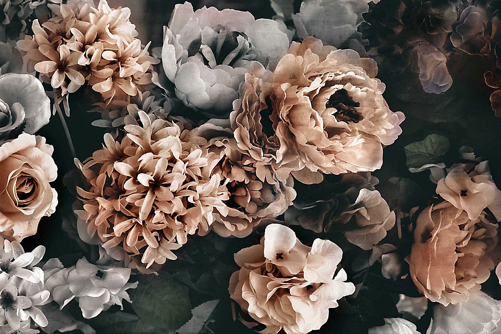 31.5X47.25 III Floral verre trempé avec feuille Wall Art