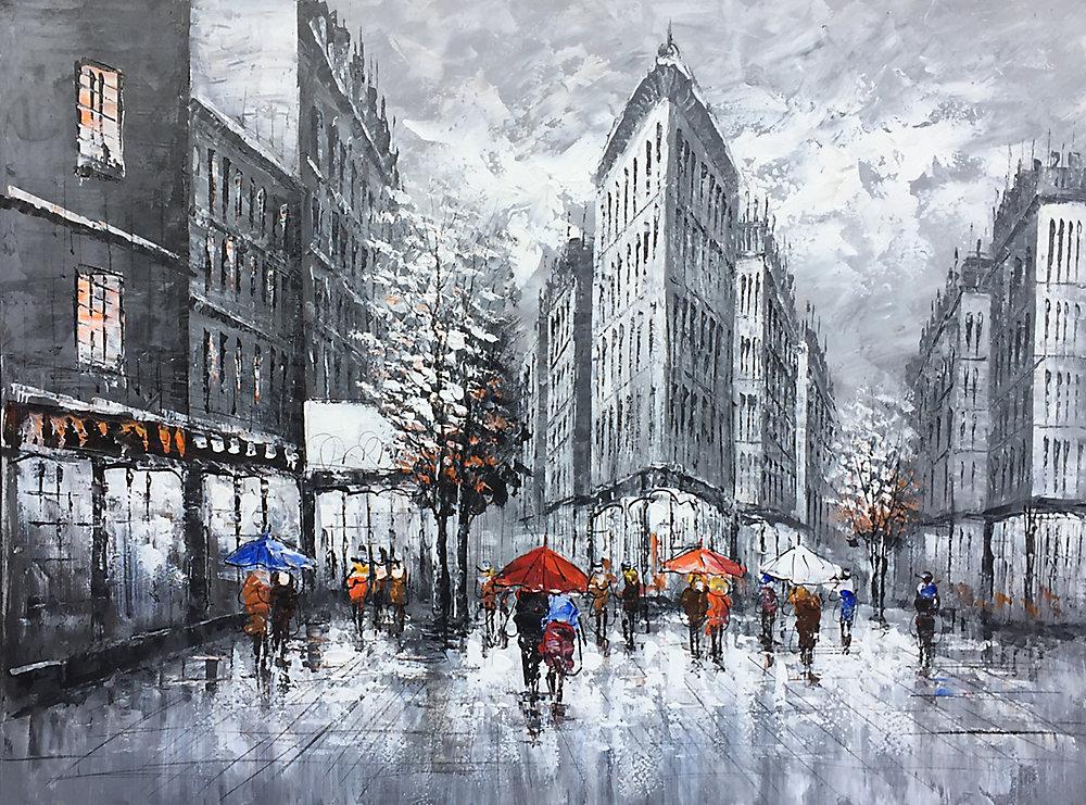35 x 47 personnes sur toile de peinture à l'huile de rues les éditions Wall Art