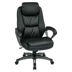 Work Smart Black Executive Bonded Leather Chair with Padded Arms