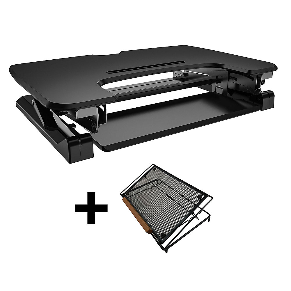 Admirable 35 Inch Sit Stand Desk With Retractable Keyboard Tray With Adjustable Laptop Stand Bundle Interior Design Ideas Skatsoteloinfo