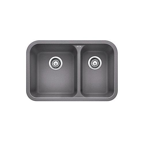 VISION U 1 ½ Undermount Sink, SILGRANIT, Metallic Gray