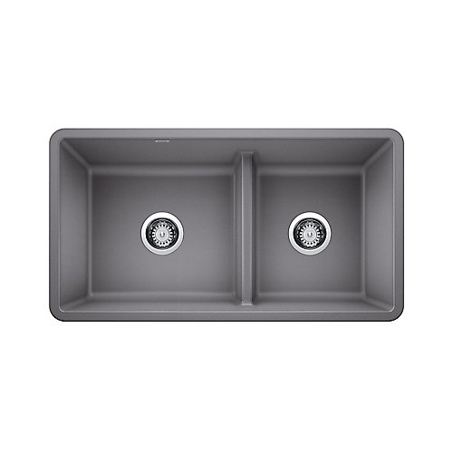 PRECIS U 1 ¾ Low Divide Sink, SILGRANIT, Metallic Gray
