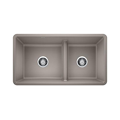 PRECIS U 1 ¾ Low Divide Undermount Sink, SILGRANIT, Truffle
