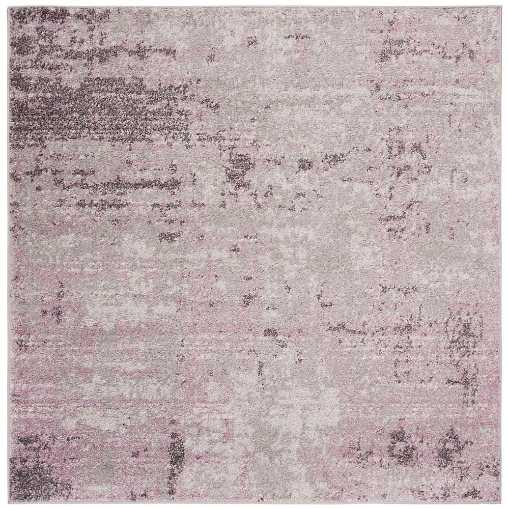 Tapis d\'intérieur carré, 4 pi x 4 pi , Adirondack Ace, gris clair / violet