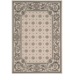 Safavieh Courtyard Allycia Sand / Black 6 ft. 7-inch x 9 ft. 6-inch Indoor Area Rug