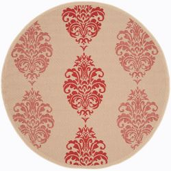 Safavieh Courtyard Isidore Natural / Red 6 ft. 7-inch x 6 ft. 7-inch Round Indoor Area Rug