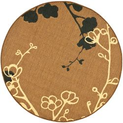 Safavieh Courtyard Emerson Brown Natural / Black 5 ft. 3-inch x 5 ft. 3-inch Round Indoor Area Rug