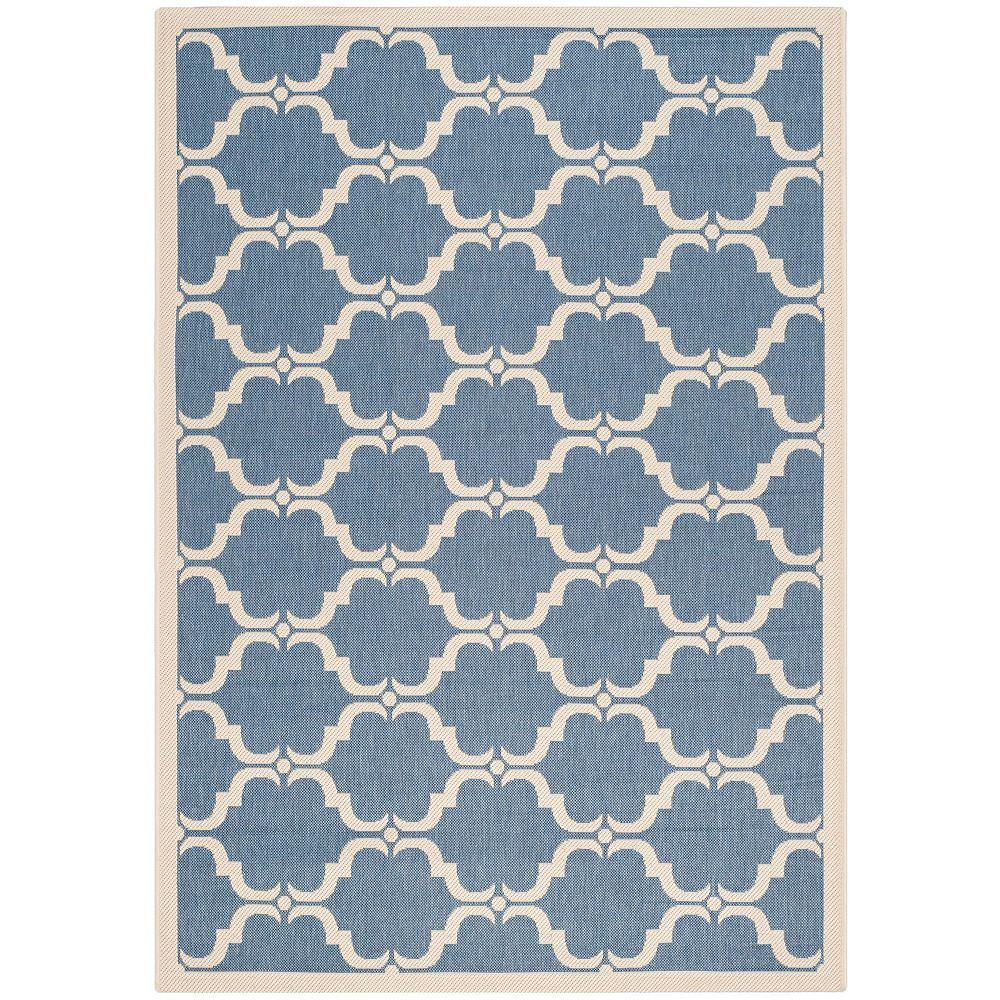 Safavieh Tapis d'intérieur/extérieur, 6 pi 7 po x 9 pi 6 po, Courtyard Don, bleu / beige