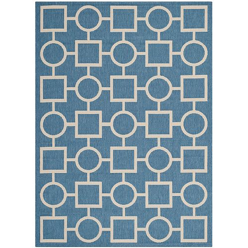 Safavieh Tapis d'intérieur/extérieur, 4 pi x 5 pi 7 po, Courtyard Lind, bleu / beige