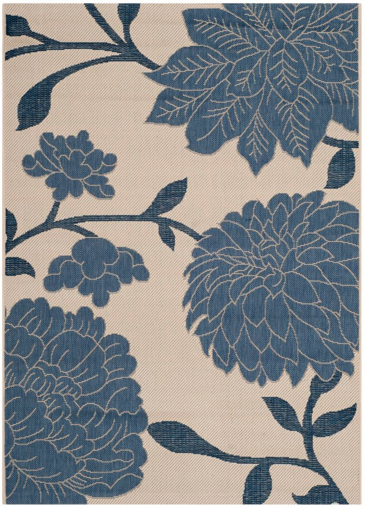Courtyard Stan Beige / Blue 4 ft. x 5 ft. 7-inch Indoor Area Rug