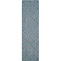 Courtyard Crystal Navy / Grey 2 ft. 3-inch x 8 ft. Indoor Runner