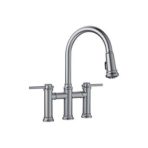 EMPRESSA Pull-down Dual Handle Faucet, Stainless Finish