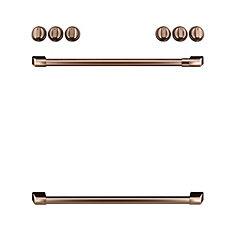 44-inch Front Control Gas Knobs and Handles in Brushed Copper (8 Pieces)