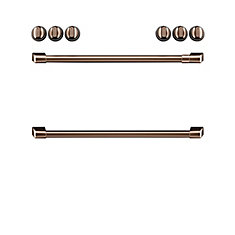 44-inch Front Control Induction Knobs and Handles in Brushed Copper (8 Pieces)