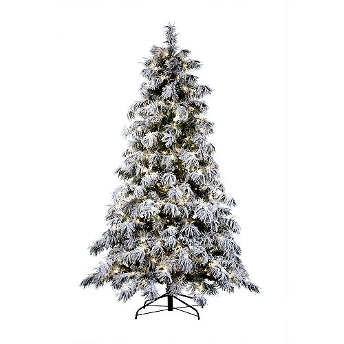 Home Accents 7.5 ft. 500 Warm White LED-Lit Flocked Spruce Artificial Christmas Tree