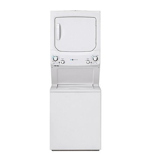 Stacked Unitized Spacemaker Washer and Electric Dryer in White