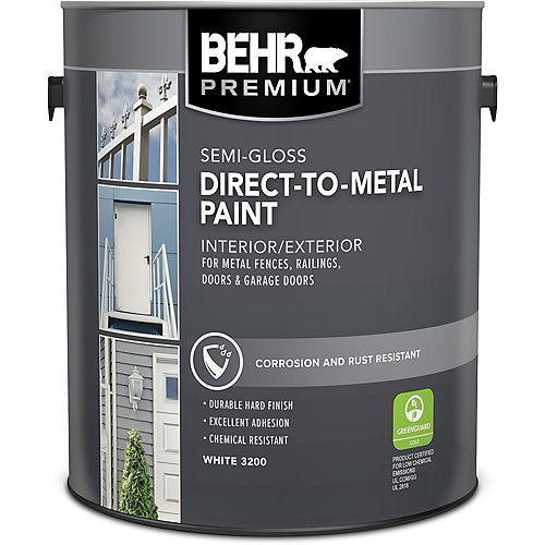 BEHR PREMIUM Interior/Exterior Direct-to-Metal Semi-Gloss Paint - White, 3.66 L