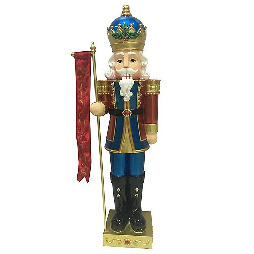 Home Accents 3 ft. 5-inch LED-Lit Metallic Nutcracker King Christmas Decoration