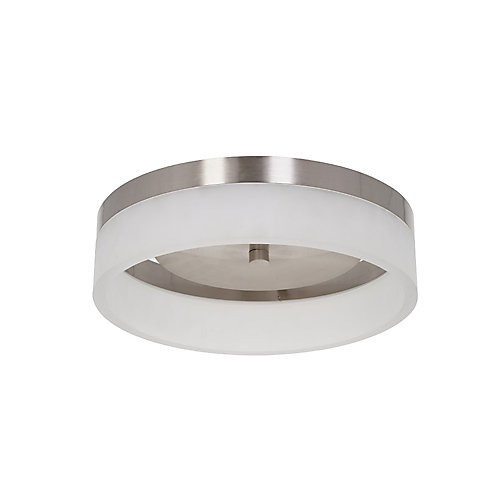 16 inch Integrated LED Brushed Nickel Finish Light Flushmount with Frosted Shade