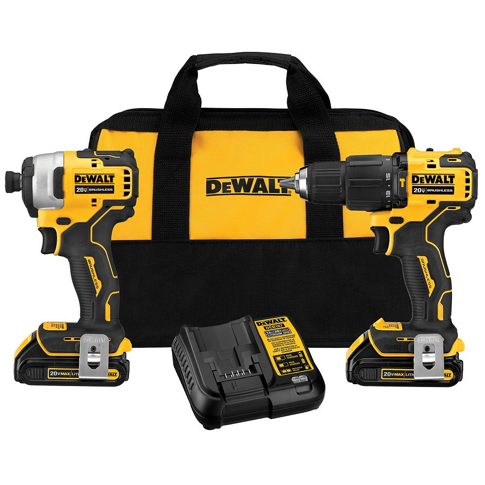 DEWALT ATOMIC 20V MAX Brushless Sub Compact Hammerdrill/Impact Driver Combo Kit with 2 Batteries