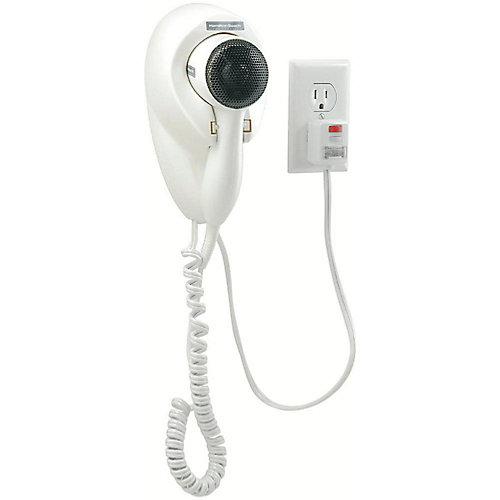 Hamilton beach wall mount hair dryer, white, 1500 watts, 125 volts