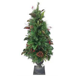 Home Accents Holiday Arbre en pot à feuilles de magnolia illuminé à 50ampoules à DEL avec minuterie, 4pi, blanc chaud