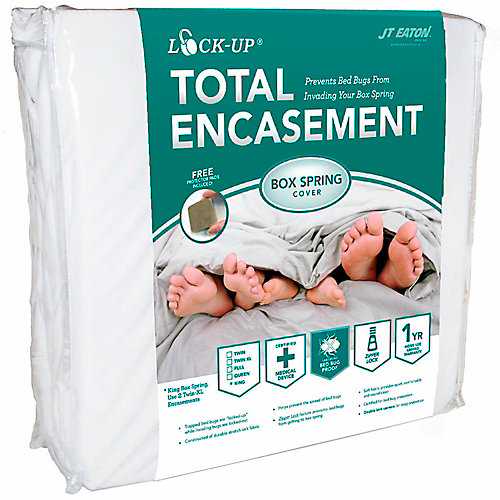 JT Eaton lock-up queen size total box spring encasement for bed bug protection