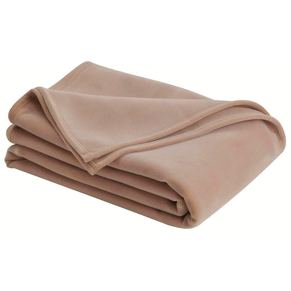 Couverture vellux pour grand lit, havane